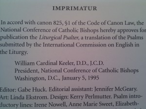Imprimatur for the ICEL Psalter